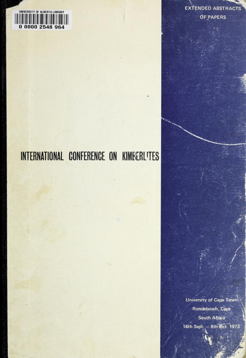 View Vol. 1 (1973): Vol 1: International Conference on Kimberlites, South Africa