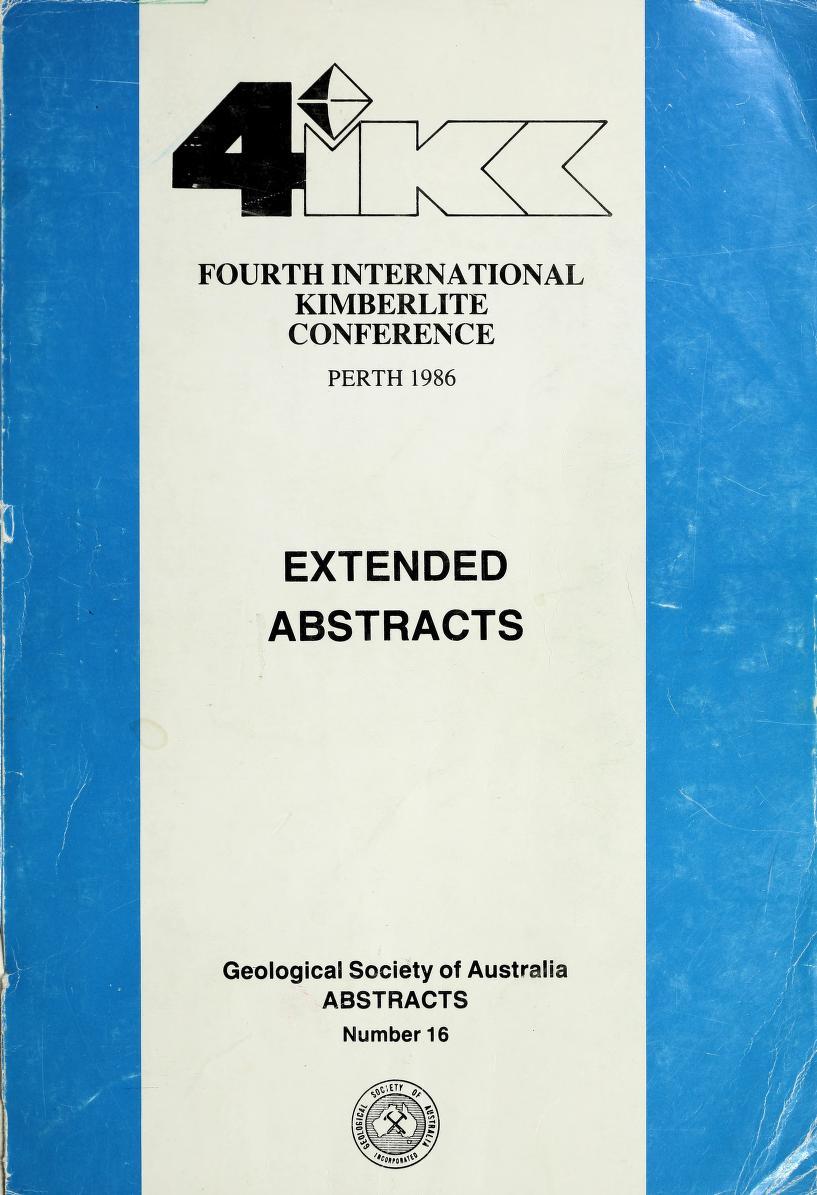 View Vol. 4 (1986): Vol 4: International Kimberlite Conference, Perth