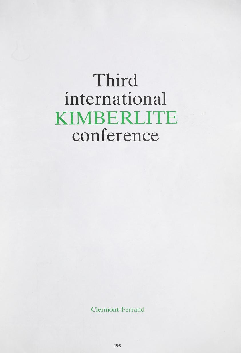 View Vol. 3 (1982): Vol 3: Third International Kimberlite Conference, Clermont-Ferrand
